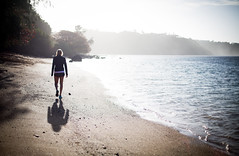beach walk (paul.wienerroither) Tags: ocean light beach girl canon walking photography 50mm hawaii paradise walk shaddow kauai