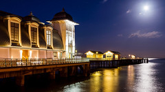 Moon lit pier (technodean2000) Tags: uk sea moon reflection wales pier nikon south pavilion lit penarth lightroom d610