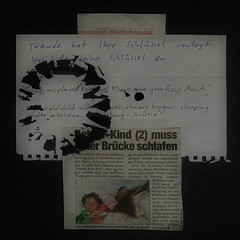 """an apple a day keeps the doctor away - An ENSO a Day ..."" 30. März 2015: About Quarters and where to sleep - 2 Messages: At my apartment door / From a Newspaper - broken circle, black ink ~ Kreis gebrochen schwarze Tinte - schlafen unter der Brücke"