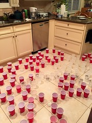 April Fools Drink (David J. Greer) Tags: red cup water kitchen day counter floor joke clear cups cover covered prank april fools cupboard