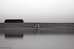 Cut-through bunker 599 (4) (MartinGJ56) Tags: longexposure water utrecht nederland bunker lucht dijk ned waterplas schoonrewoerd zwartwitbw perfectbw zonsopkomstsunrise perfectsuite