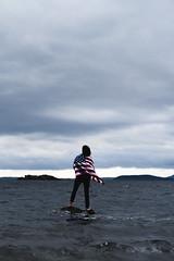 USA! (nhmansfield) Tags: ocean bear sea usa storm wet water rain america swimming outdoors washington teddy hiking cove flag american bellingham waters rough pnw