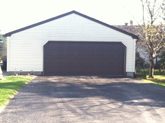 24' X 24' Front Gable with cropped corners on overhead door opening.