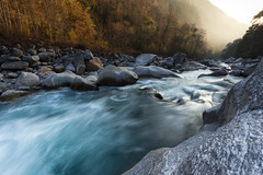 River in Langtang Valley, Nepal (JoshyWindsor) Tags: longexposure travel nepal sunset trekking river landscape golden rocks scenic waterflow canonef1740mmf4l langtangvalley canoneos6d