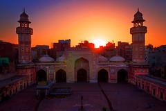 Maghrib (Fortunes2011. Re start) Tags: sunset sunlight heritage minaret mosque backlit lahore hdr minar placeofworship wazirkhanmasjid fortunes2011nikon
