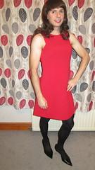Red Number (bryony_savage) Tags: red black dress cd makeup tights crossdressing wig heels skater crossdresser crossdress tg