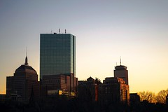 Boston Buildings Set (DavidAvila Photography) Tags: city blue light sunset sky colors yellow boston skyline america buildings landscape photography lights nikon shadows bright massachusetts united north highlights clear balance states hue d3100
