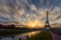Paris golden hour (marko.erman) Tags: morning travel light sky sun paris france tower monument architecture clouds stairs sunrise walking mood cityscape view pov sony eiffel visit esplanade romantic viewpoint trocadero extrieur contrejour mids