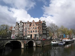 Partly Cloudy over Amsterdam. (Flyingpast) Tags: travel bridge vacation house holiday building weather architecture boat canal spring europe pretty cloudy prinsengracht waterway capitalcity citybreak wb2000 tl350