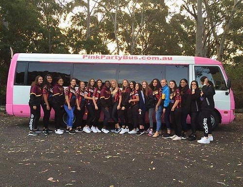Girls footy team Party Shuttle's to the Footy Show. Party Shuttle on girls.