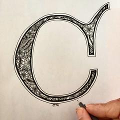 "Lombardic Letter ""C"" (marusaart) Tags: blackandwhite art illustration sketch artist c doodle ornament letter alphabet copic marusaart"
