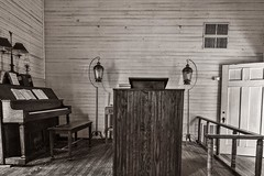 Where's the Preacher? (Oliver Leveritt) Tags: blackandwhite monochrome nikond610 afsnikkor1635mmf4gedvr oliverleverittphotography wideangle pulpit piano old historic structure building artifact sepia platinum church