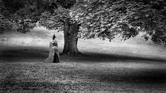 Even More of the Lynn (Dell's Pics) Tags: lynn chadwick cloaked figure ix yorkshire sculpture park olympus omd em5 open air grtass mono monotone bw statue cloak dark tgree grass leaves
