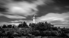 Lighthouse B&W (JH') Tags: nikon nikond5300 nature d5300 summer sky sigma 1020 rocks landscape trees clouds longexposure exposure lighthouse blackandwhite