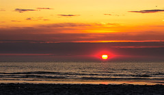 Sonnenaufgang (sandyA73) Tags: ocean travel italien sea sky italy orange sun holiday rot beach nature water yellow clouds sunrise landscape sand reisen nikon europa europe mare urlaub natur gelb vogel d5100 sanda73