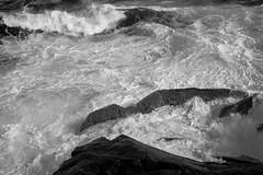 three horizontals, rocks, surf, rhythm, Gull Rock, Monhegan, Nikon D40, Soligor 35-70mm lens, 6.27.16 (steve aimone) Tags: horizontals rocks surf ocean gullrock monhegan monheganisland maine monochrome monochromatic blackandwhite foam swirling