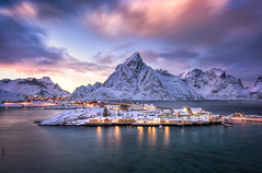 Living On An Island (explored) (hpd-fotografy) Tags: arctic lofoten norway sakrisy scandinavia sunrise bluehour clouds cold dramatic fjord ice island landscape light longexposure mountain north reflection sky snow sunset weather winter ~themagicofcolours~iii