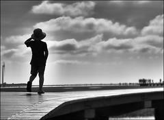 F_DSC9290-4-BW-Nikon D800E-Nikkor 28-300mm-May Lee  (May-margy) Tags: portrait bw blur beach silhouette clouds bokeh   windturbine    boadwalk       taichungcity   repofchina maymargy nikkor28300mm nikond800e maylee  mylensandmyimagination streetviewphotographytaiwan  naturalcoincidencethrumylens   fdsc92904bw linesformandlightandshadwos