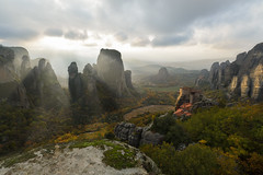 And God said: Let there be LIGHT! (billpeppasphotography) Tags: meteora greece hellas kalampaka kalambaka thessaly monastery monasteries church god religion valley sun sunshine sunrays rays cloud clouds cloudy autumn storm breaking through rock rocks rocky cliff hill peak shine