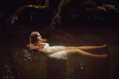 Floating Through Life (CARECOM photography) Tags: floating creek girl woman river water dress long legs mysterious