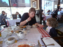 Lunch at Maggiono's Little Italy (traveling peter) Tags: vegas people usa cup window water glass stairs america mall hair menu bread table lunch soup restaurant lemon italian sitting basket tea lasvegas nevada bib watch daughter knife plate fork spoon pasta nv pot wife vinegar features highchair oliveoil maggianoslittleitaly fashionshow sophia parmesan maggianos fashionshowmall 2015 meggiev year2015 iitalianfood