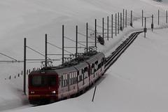 Triebwagen BDhe 4/8 213 der Jungfraubahn JB ( Zahnradbahn 1000mm - Zahnradtriebwagen => Baujahr 1992 => Hersteller SLM Nr. 5487 ) ob der Kleinen Scheidegg im Berner Oberland im Kanton Bern der Schweiz (chrchr_75) Tags: train de tren schweiz switzerland suisse swiss eisenbahn railway zug april locomotive cogwheel christoph svizzera bahn zahnrad treno schweizer berner chemin centralstation fer locomotora tog crmaillre juna lokomotive lok berneroberland ferrovia oberland bergbahn cremallera spoorweg suissa 2015 zahnradbahn locomotiva lokomotiv ferroviaria  locomotief jungfraubahn chrigu  rautatie  mountaintrain bahnen zoug trainen kantonbern  chrchr hurni chrchr75 chriguhurni albumbahnenderschweiz chriguhurnibluemailch albumbahnenderschweiz201516 albumzzz201504april
