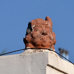 Strangled! (abz_chat) Tags: blue sky bird rooftop nikon die zoom pigeon statues telephoto strangled d5100