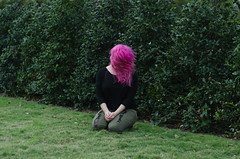 (Jenna Frenzel) Tags: park pink color green art girl contrast hair pants natural artistic houston portraiture toss greenery dye dyed hermannpark