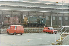 Royal Mail / British Rail, Taunton 1980s. (ManOfYorkshire) Tags: blue red train mail rail railway trains british royalmail van 1980s sherpa viva leyland vauxhall taunton shunter class08 08483