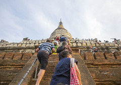 Tourists Waiting To View Sunset Line The Shwesandaw Pagoda, Bagan, Myanmar (Eric Lafforgue) Tags: old travel color colour history tourism archaeology horizontal architecture temple photography pagoda ancient ruins worship asia southeastasia stair day adult buddha burma stupa faith religion buddhism tourist climbing myanmar spirituality copyspace groupofpeople adultsonly pagan bagan traveldestinations colorimage famou