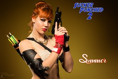 Sucker Punched 2: Summer (FightGuy Photography) Tags: beautiful leather necklace gun gorgeous badass headset redhead armor pistol arrows browneyes jax bun midriff beretta quiver fullauto studiob croptop womenwithweapons womenwithguns suckerpunched union206 fightguyphotography