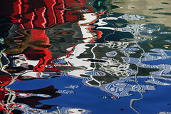 Reflecting on the abstract. (artanglerPD) Tags: blue red white water reflections bright harbour ferryboat obantrip