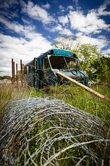 Abandoned Shuttle (Notley) Tags: sky bus abandoned clouds midwest may missouri 2016 shuttlebus 10thavenue notley ruralphotography ruralusa fencewire overtonmissouri notleyhawkins coopercountymissouri missouriphotography httpwwwnotleyhawkinscom notleyhawkinsphotography