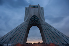 (Ivo Daskalov) Tags: city travel sky abstract tower monument lines sign architecture tile square liberty photography evening town persian skies iran symbol shapes style persia line tiles journey revolution iranian tehran shape masterpiece stylish shah azadi borj