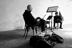 L'essai avant du concert (Paolo Pizzimenti) Tags: film concert paolo olympus f2 12mm zuiko essai ravenna argentique musicien violon pellicule harpe penf m43 prisedevue mirrorless lutrin