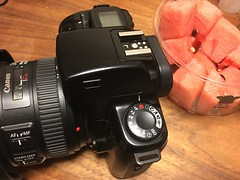 EOS 1000S with watermelon (Jet Daisuke) Tags: camera slr canon eos  eos1000s