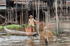 Stilt village (tmeallen) Tags: fisherman flooding cambodia culture highwater tonlesap fishingnets dugoutcanoe monsoonseason waterhyacinths stiltvillage kampongphluck tahasriver annualflood