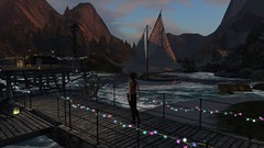 The warmth of the evening (alexandriabrangwin) Tags: world ocean mountains club sailboat computer dark lights evening 3d dock graphics warm waves quiet peaceful secondlife virtual string bulbs coloured hangout cgi alexandriabrangwin
