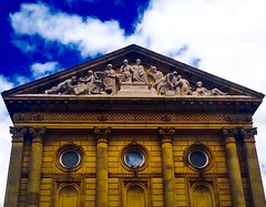 Todmorden Town Hall (rustyruth1959) Tags: windows sky building industry architecture clouds town outdoor stonework yorkshire columns lancashire cotton round figures pediment carvings todmorden pedestal listedbuilding gradei calderdale johngibson iphone5 todmordentownhall walsdenwater