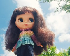 Anouk's out-and-about in the neighbourhood wearing her pretty Ulanna cardigan and a denim skirt made by me ☺