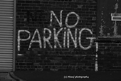 No parking. (MAMF photography.) Tags: street uk greatbritain england blackandwhite bw art monochrome beauty wall blackwhite google nikon flickr noir noiretblanc zwartwit unitedkingdom britain yorkshire bricks negro north gb upnorth zwart pretoebranco schwarz biancoenero westyorkshire onthestreet morley greatphoto googleimages northernengland enblancoynegro zwartenwit ls27 mamf inbiancoenero schwarzundweis morleyleeds mamfphotography