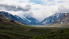 Break in the Clouds - Denali National Park (Enzymatic RXN) Tags: road park trip travel blue vacation sky mountains green nature alaska clouds landscape fuji hills national fujifilm denali xe1