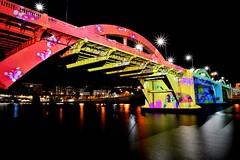 Crayon bridge. 179/366 (jenniferdudley) Tags: longexposure nightphotography bridge colour festival night river out nikon exposure box illumination drawings brisbane southbank crayon brisbaneriver outofthebox williamjollybridge nikond5 day179366 366the2016project 366the2016edition 3662016 outofboxfestival 27jun16