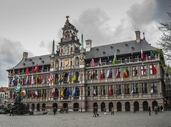 Antwerp City Hall (Justgetdancey) Tags: city building architecture square europe belgium cityhall flags antwerp marketsquare