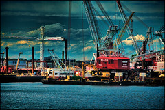 Weeks (raymondclarkeimages) Tags: sky usa water clouds canon project river boat newjersey construction marine industrial ship waterfront outdoor digging tunnel cranes equipment cables commercial maritime weeks bayonne dredging 6d 70200mm rci pvsc raymondclarkeimages 8one8studios weeksmarineinc
