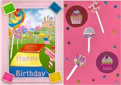Birthday Card (Hobbycorner) Tags: scrapbook creative creativity candy candyland cupcakes lollipops birthday card cards art scrapbooking