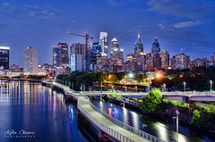 Philadelphia South Street Bridge (Kofla Olivieri) Tags: philadelphiasouthstreetbridge downtown philly night cityskyline adobephotoshopelements topazadjust pennsylvania nightphotography sunset blue hour hdr kofla olivieri