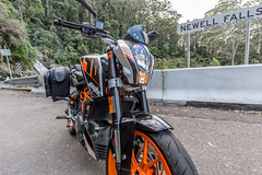 KTM Duke 390 2014, with ViaTerra Velox Saddlebags (angle view, 2 bags mounted) (demawo) Tags: coffsharbour ktm ktmduke390 motorbike motorcycle viaterraveloxsaddlebags