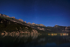 A lonely Perseid over Walenstadt (jonas.wagner) Tags: astrophotography astro perseid meteor shootingstar night nightscape widefield ultrawideangle 15mm tamronsp1530mmf28divcusd d810 darktable gimp gmic switzerland walenstadt mountain lake churfirsten walensee moonlit