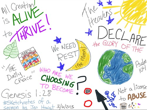 Sketchnote of Genesis 1:28 sermon by Jen by Wesley Fryer, on Flickr